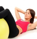 Slim fitness womanworkout crunches exercises